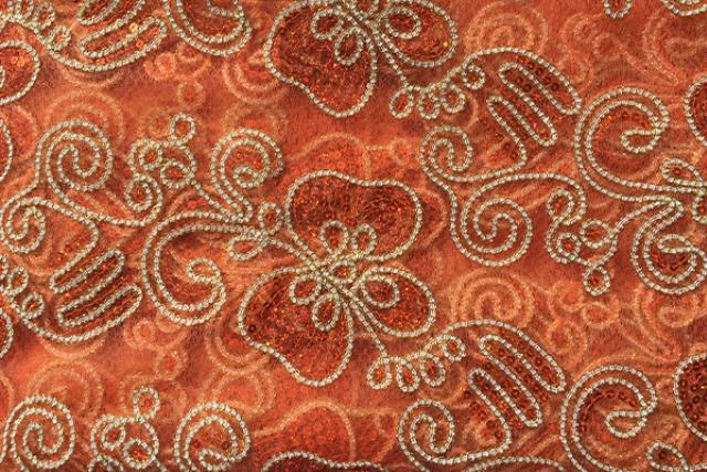 Orange Sequin Embroidered Runner 100
