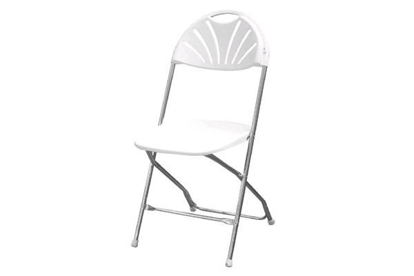 White/chrome Fan-back Folding Chair