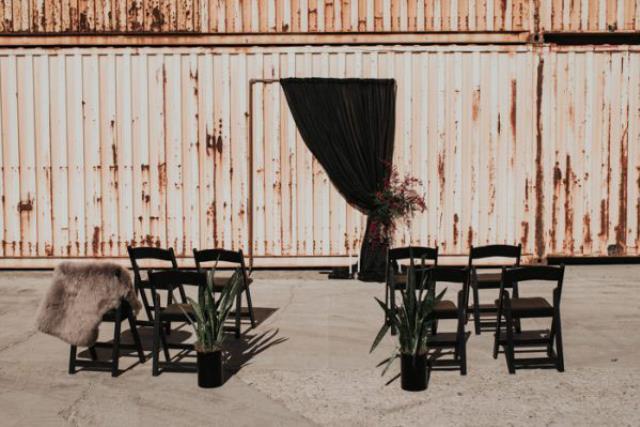 Black Resin Folding Chair